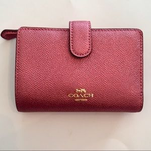 COACH Metallic Leather Medium Corner Zip Wallet